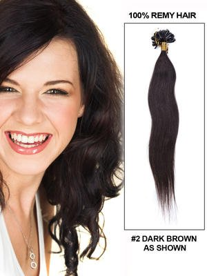 18' 50 piece Silky Straight Nail/U Tip Indian Remy Hair Extension - 2