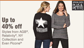 Up to 40% off styles from AGB®, Relativity®, NY Collection and Evan Picone®.