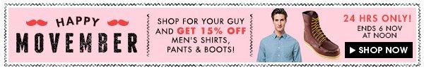 Get 15% off menswear!