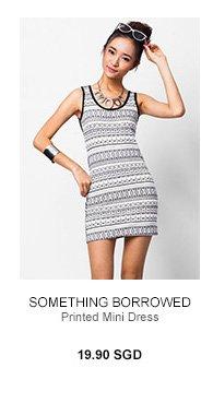 SOMETHING BORROWED Printed Mini Dress