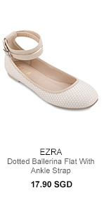 EZRA Dotted Ballerina Flat With Ankle Strap