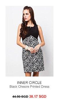 INNER CIRCLE Black Chesire Printed Dress