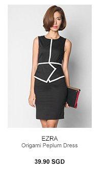 EZRA Origami Peplum Dress