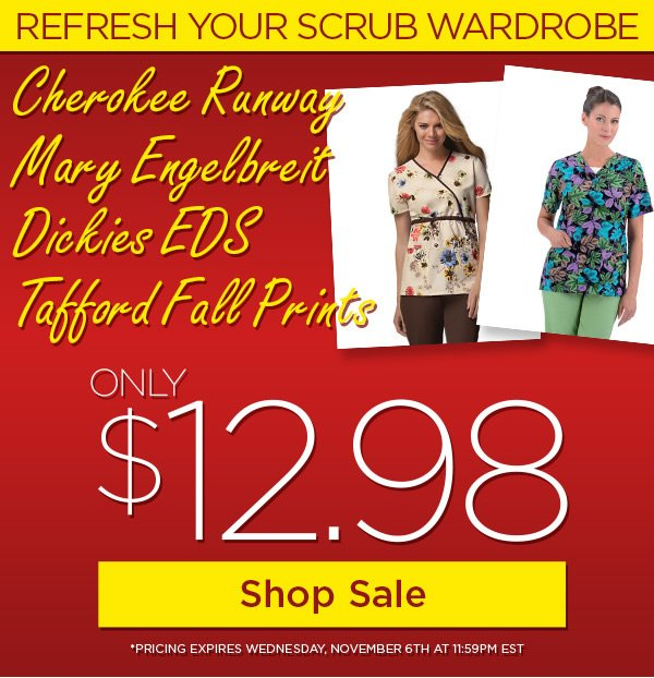Styles from Cherokee Runway, Mary Engelbreit, Dickies EDS, and Tafford for only $12.98 - Shop Sale