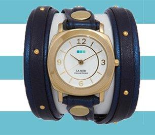 Navy Shimmer-Gold Stud Odyssey Layer Watch