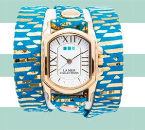Teal Egyptian Print Chateau Wrap Watch