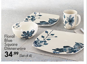 Floral Blue Square Dinnerware 34.99 (Set of 4)