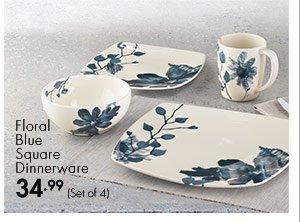Floral Blue Square Dinnerware 34.99 (Set of 4)