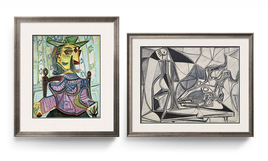 SEATED PORTRAIT OF DORA MAAR and GOAT'S SKULL, BOTTLE AND CANDLE, 1952 By: Pablo Picasso