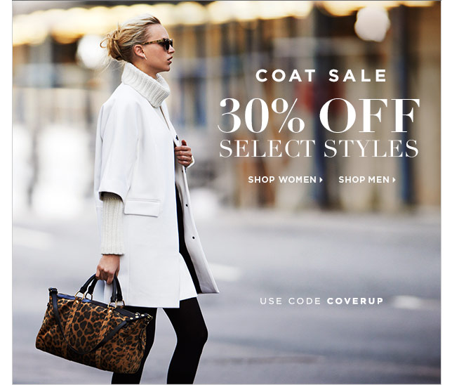 Coat Sale! 30% Off Select Styles, Online Only