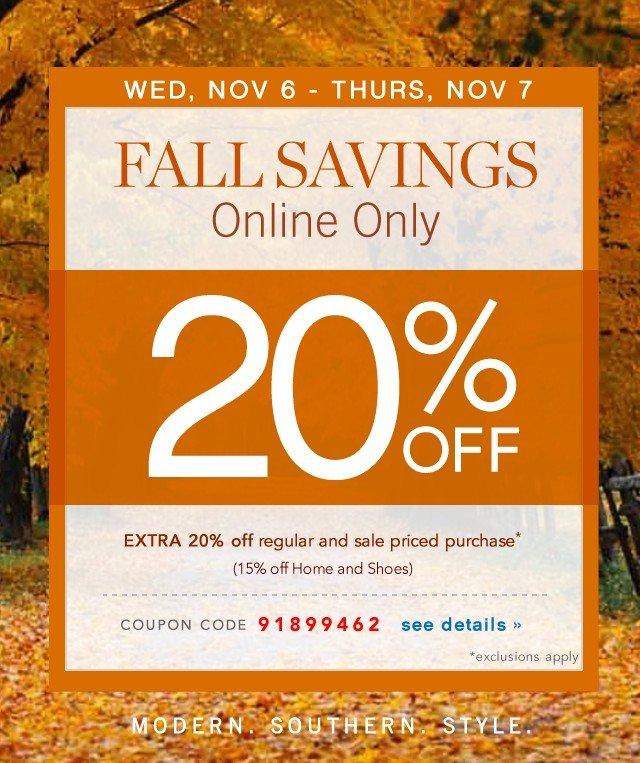 Wed, Nov 6 & Thur, Nov 7 Online Only Extra 20% off. See details.