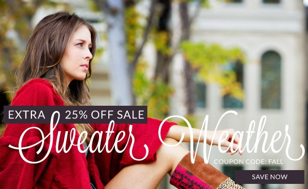 Save 25% Off Already Marked Down Sale Prices with Coupon Code FALL