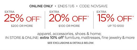 ONLINE ONLY • ENDS 11/6 • CODE:  NOVSAVE EXTRA 25% OFF* $250 OR MORE EXTRA 20% OFF* $150 OR MORE EXTRA 15% OFF* UP TO $100                            apparel, accessories, shoes & home;                            IN STORE & ONLINE: extra 10% off*  furniture, mattresses, fine jewelry & more  SEE EXCLUSIONS & DETAILS BELOW.