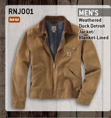 Men's Weathered Duck Detroit Jacket - Blanket Lined