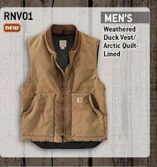 Men's Weathered Duck Vest - Arctic Quilt Lined