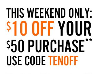 $10 off your $50 Purchase with code TENOFF