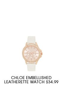 CHLOE EMBELLISHED LEATHERETTE WATCH