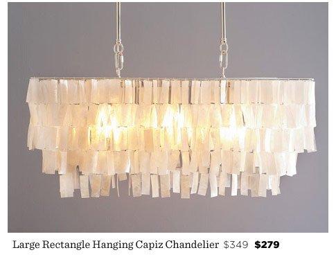 Large Rectangle Hanging Capiz Chandelier