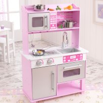 KidKraft Pink Toddler Play Kitchen with Metal Accessory Set