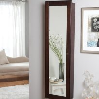 Wall-Mounted Locking Wooden Jewelry Armoire