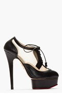 CHARLOTTE OLYMPIA Black Brogued leather Astaire Platform heels for women