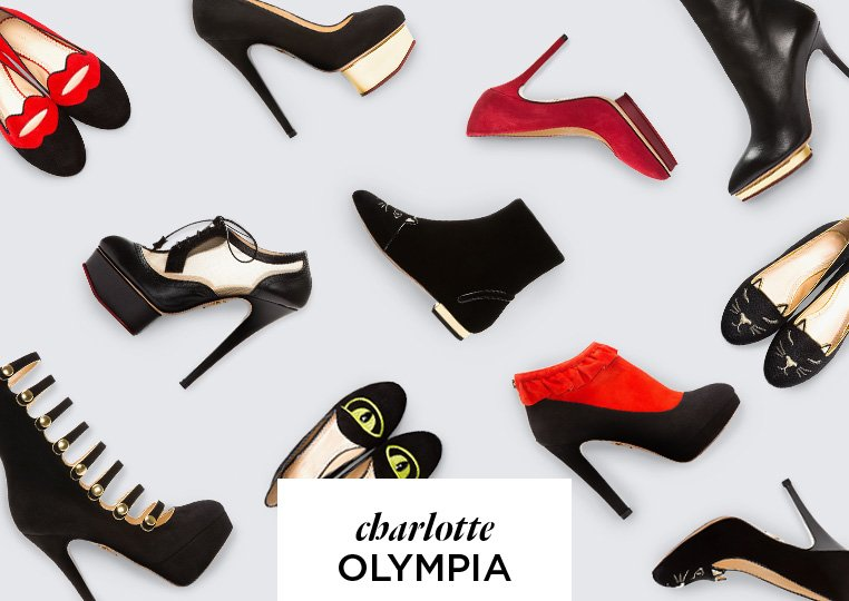 Cheer, chic, and shoes from Charlotte Olympia Femininity and a glamorous sense of fun elevate the designer-cum-heiress' platforms, pumps, and flats.