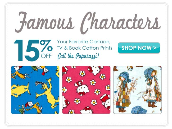 15% off Famous Characters Cotton Prints