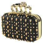 Womens Gold Knuckle Skull Studded Black Clutch