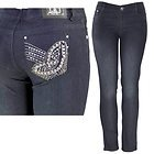 Womens Butterfly Studded & Stitched with Rhinestones Pocket Dark Blue Skinny Jeans
