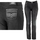 Womens Lesley Studded & Stitched with Rhinestones Black Skinny Jeans