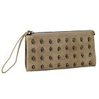 Womens Taupe Skull Studded Clutch