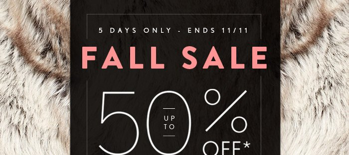 Fall Sale - 5 days Only!