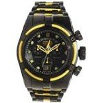 Invicta 14423 Men's Yellow Cable Wire Bezel Black Dial Bracelet Chrono Watch