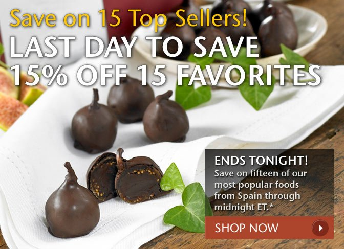 Save on 15 Top Sellers! Last Day to Save 15% Off 15 Favorites - Ends Tonight! Save on fifteen of our most popular foods from Spain through midnight ET.* Shop Now