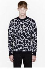 RAF SIMONS Navy merino wool leopard spot sweater for men