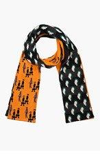 RAF SIMONS Orange & green double-pattern scarf for men