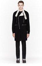 RAF SIMONS Black Wool Long Zippered Biker Vest for men