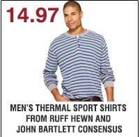 14.97 Men's thermal sports shirts from Ruff Hewn and John Bartlett Consensus. Shop  now.