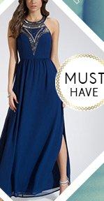 Beaded Yoke Maxi Dress