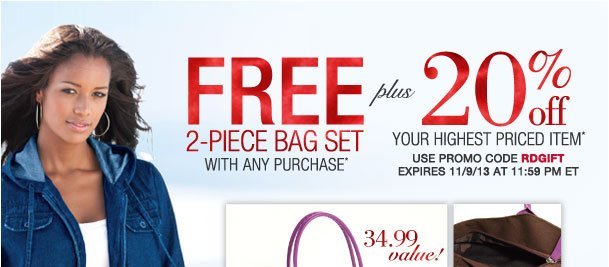 Free 2-Piece bag set with purchase Pluse 20% off highest item! Use RDGIFT