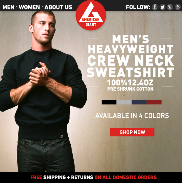 Men's Heavyweight Crew Neck Sweatshirts: Available in 5 Colors!