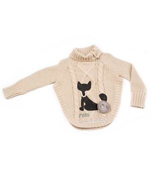 Lourdes 100% Cotton Cat Print Knitted Girl's Sweater