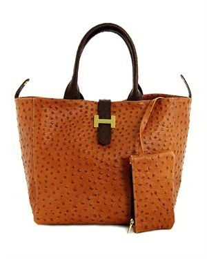 La Superbia Reversible Ostrich Embossed Leather Tote Made In Italy