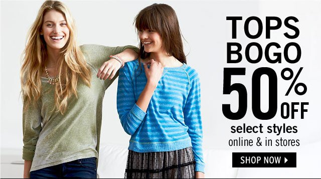 TOPS BOGO 50% select styles