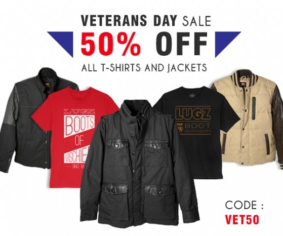 Veterans Day Sale - Get 50% Off Apparel