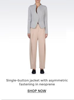 SINGLE-BUTTON JACKET WITH ASYMETRIC  FASTENING IN NEOPRENE