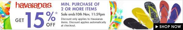 Havaianas sale 15% off