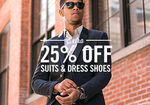 Shop Extra 25% Off Suits & Dress Shoes