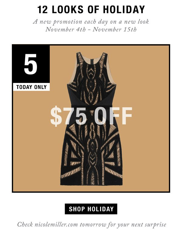 12 Looks of Holiday. Day 5: $75 Off
