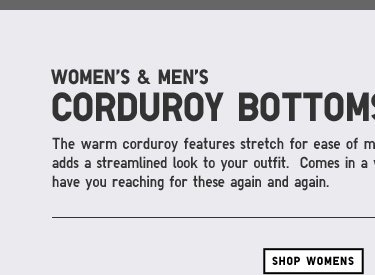WOMEN'S CORDUROY BOTTOMS